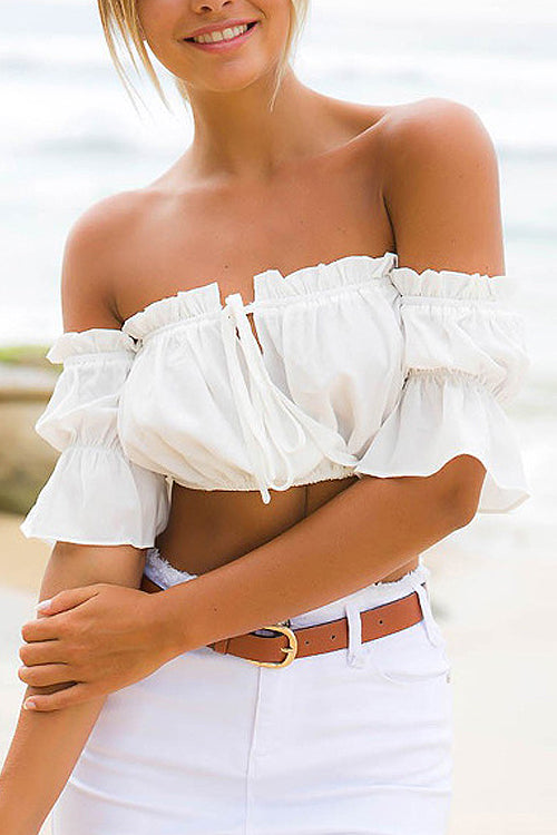 Off the Shoulder Ruffle Crop Top