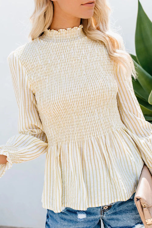 Fancy Me Pleated High-Neck Striped Top