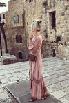 Pink Lace Irregular Hem Maxi Dress