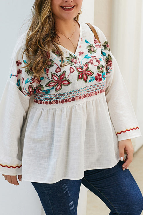 Made For Me Flower Embroidered Oversized Top - 2 Colors