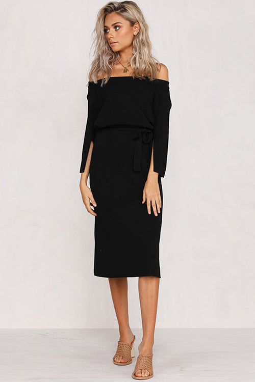 Sway Away Off Shoulder Knit Midi Dress - 2 Colors