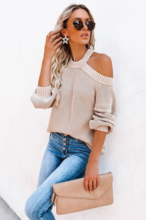 Sweetest Treat Cold Shoulder Knit Sweater