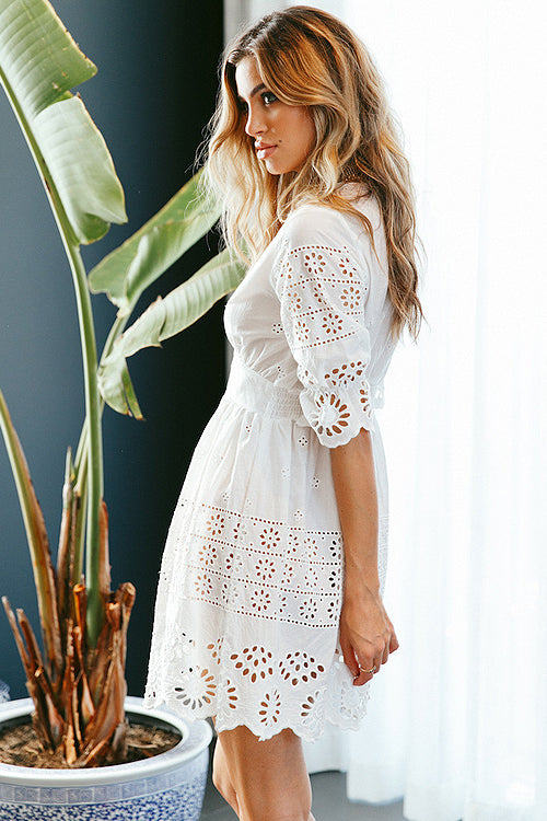Pure White Hollow-out Puff Mini Dress