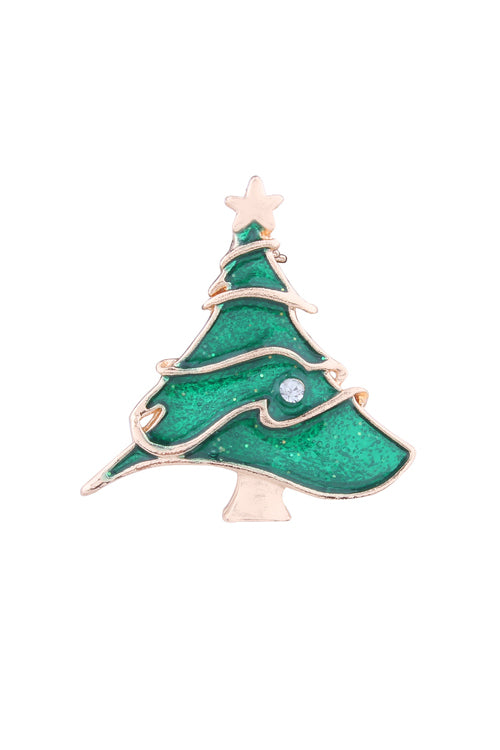 Christmas Tree Triple Brooch
