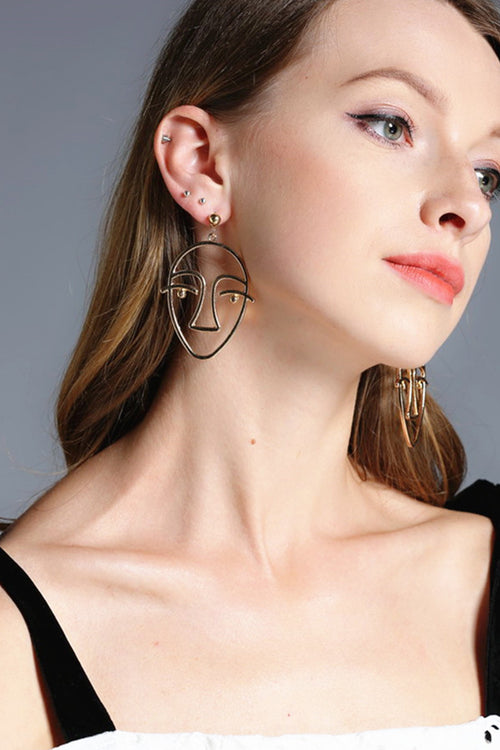Metallic Face Earrings