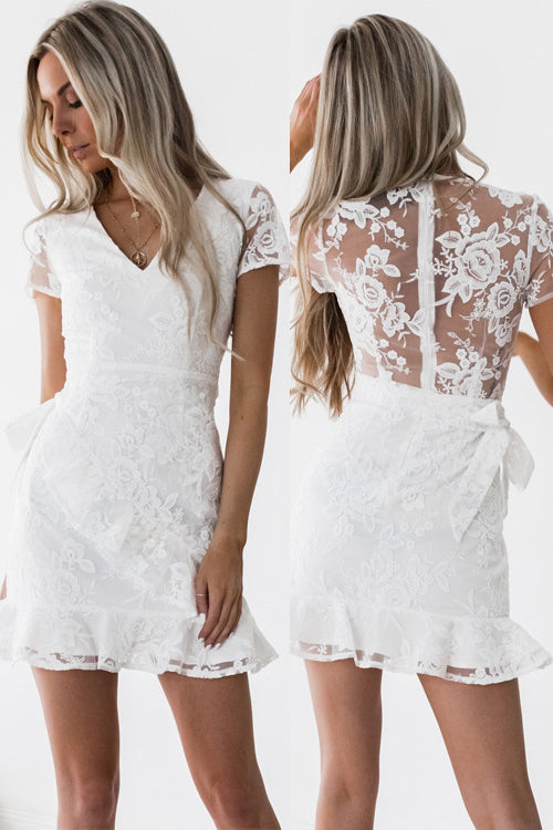 V-neck Lace Lush Mini Dress