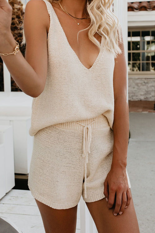 Wishing For You Beige V-Neck Knit Suit