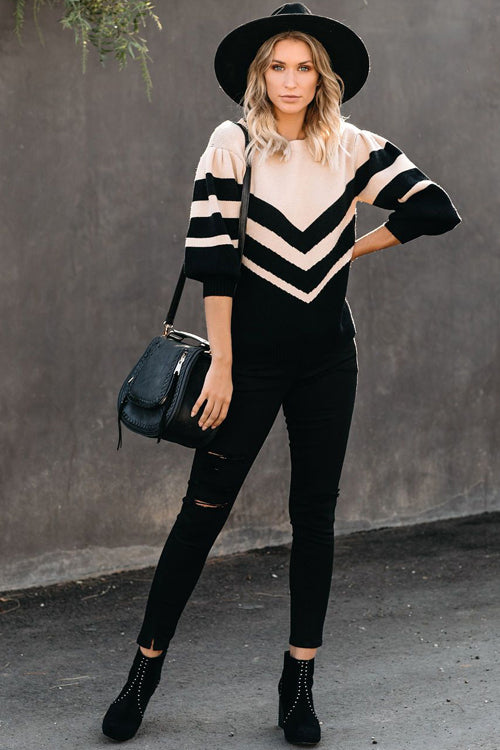 Sweet Dreams Striped Puff Sleeves Knit Sweater