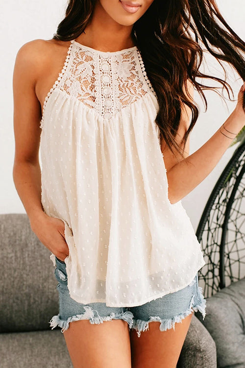 Pleasantly Cozy Lace Embroidered Sleeveless Top - 3 Colors