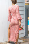 Pink Lace High-slit Maxi Dress