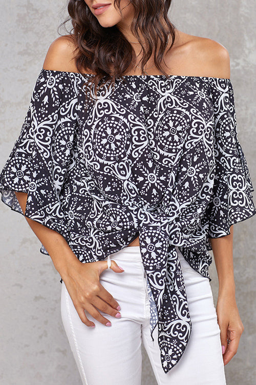 Style Spotting Off the Shoulder Print Top - 4 Colors