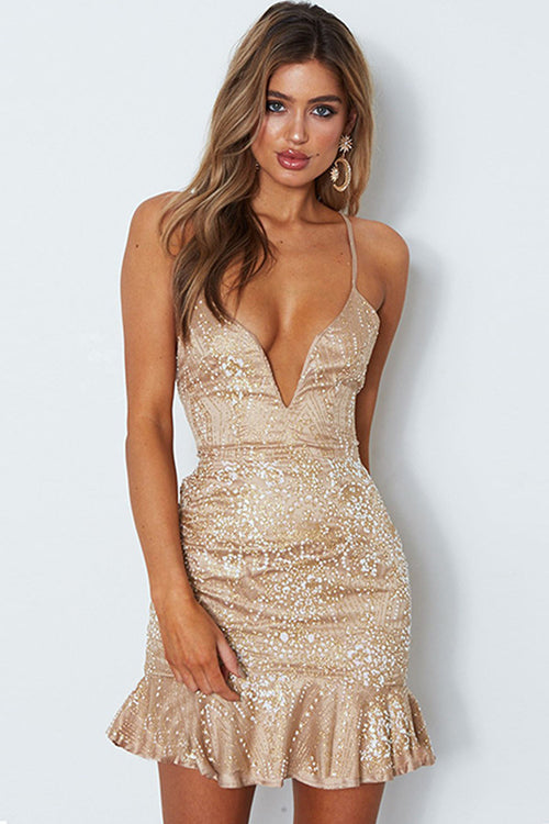 Sequin Spaghetti Tie-back Wrap Dress - 2 Colors