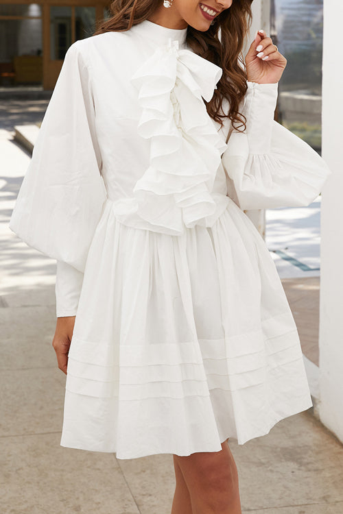 Love Swept White Puff Sleeve Mini Dress