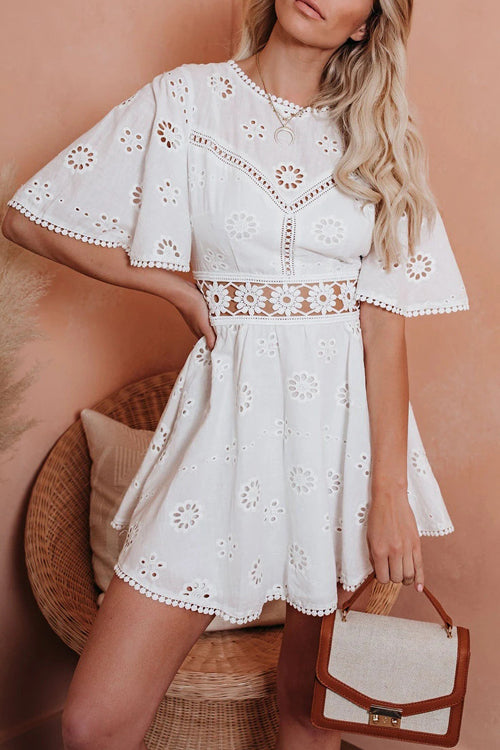 Angel in Disguise White Lace Backless Mini Dress