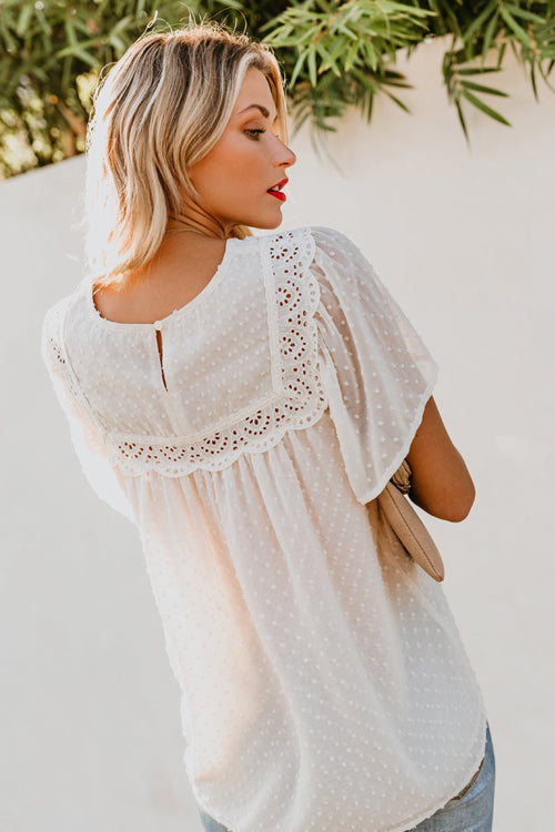 Picture It Lace Dotted Up Short Sleeve Top