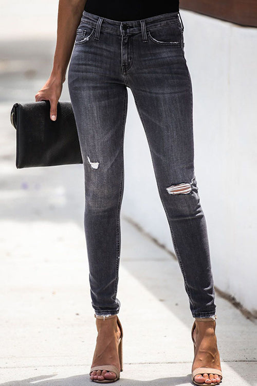 Just Do It Black Wash Skinny Jeans