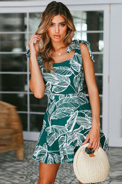 Leaves Print Bowknot Fit&Flare Dress - 2 Colors