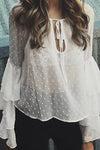 Dot See Through Ruffle Blouse