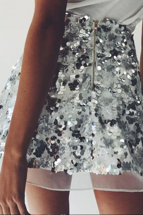 Sequin Tulle Party Mini Skirt