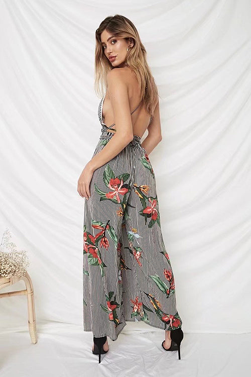 Stripe Print Backless Tie-waist Jumpsuit