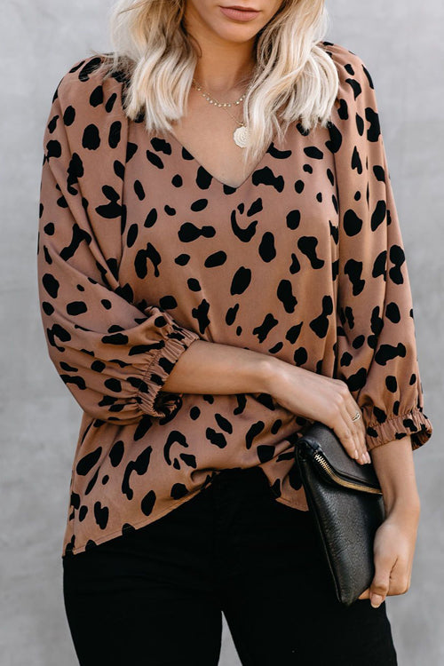 You Got This Leopard Print Balloon Sleeve Top