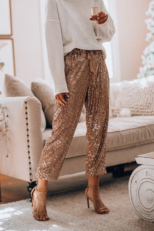 Holiday Ready Golden Sequin Pants