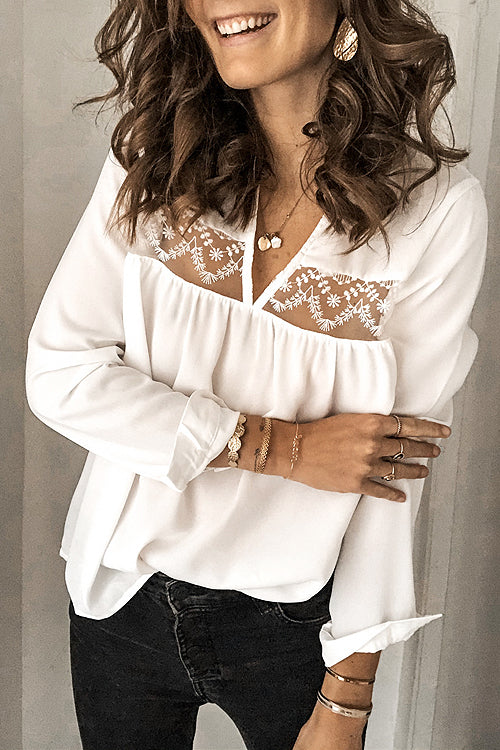 Love Light Lace V-Neck Long Sleeve Top - 2 Colors
