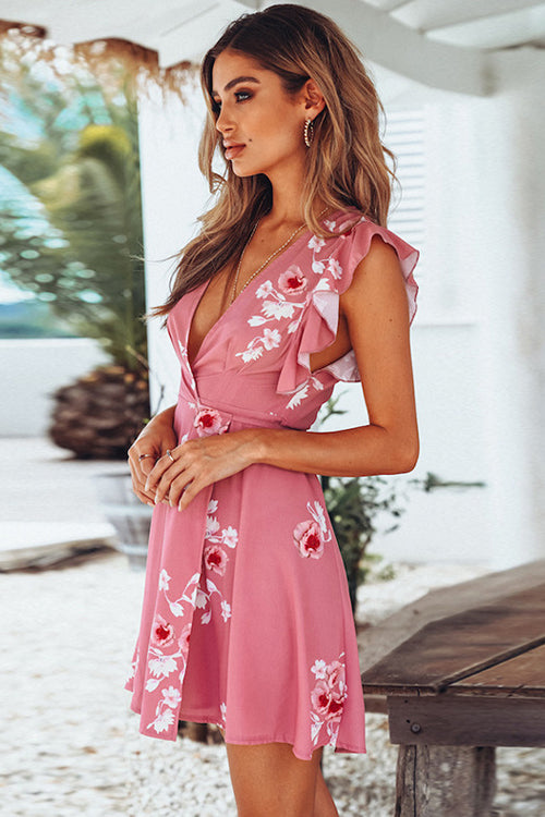 Pink Lily V-neck Mini Dress