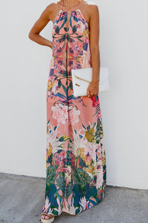 Sunny Season Halter Neck Printed Maxi Dress