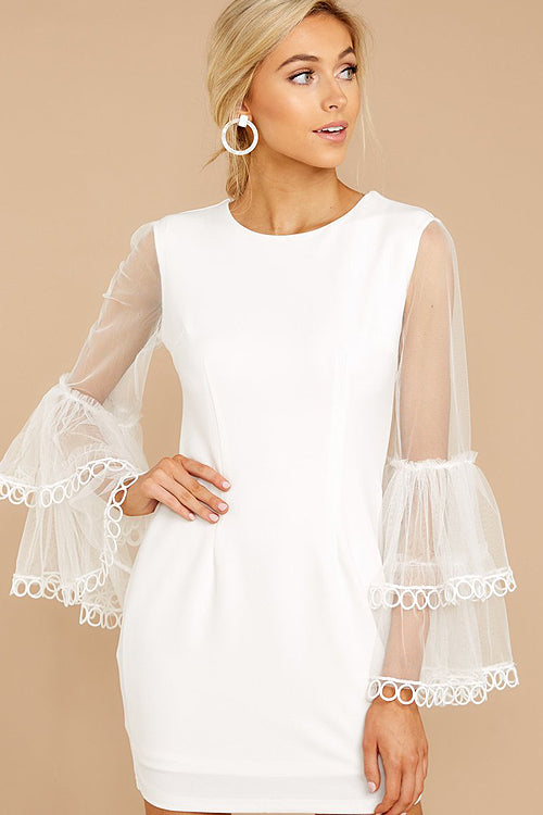 Love to Be Loved Tulle Layered Sleeve Mini Dress - 2 Colors