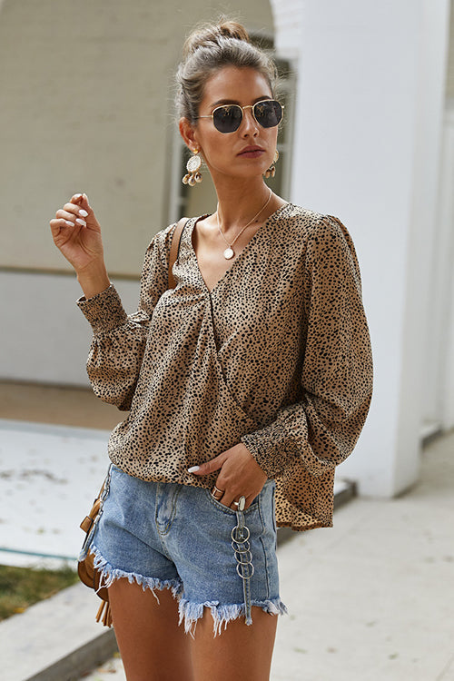Draw You Close Printed Long Sleeve Wrap Top - 2 Colors