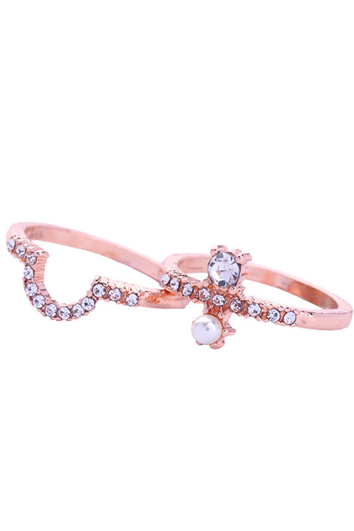 Rhinestone Heart Double Ring