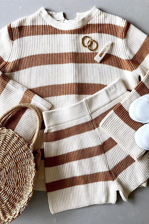 After Sundown Striped Knit Sweater Suit - 2 Colors