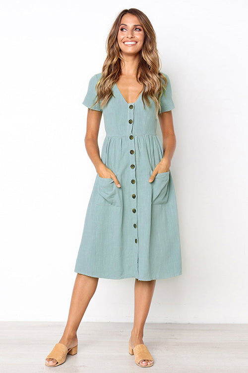 Button-Up Pocket Short Sleeve Dress - 6 Colors