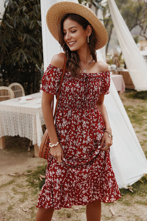 Days Like This Printed Off Shoulder Midi Dress - 3 Colors