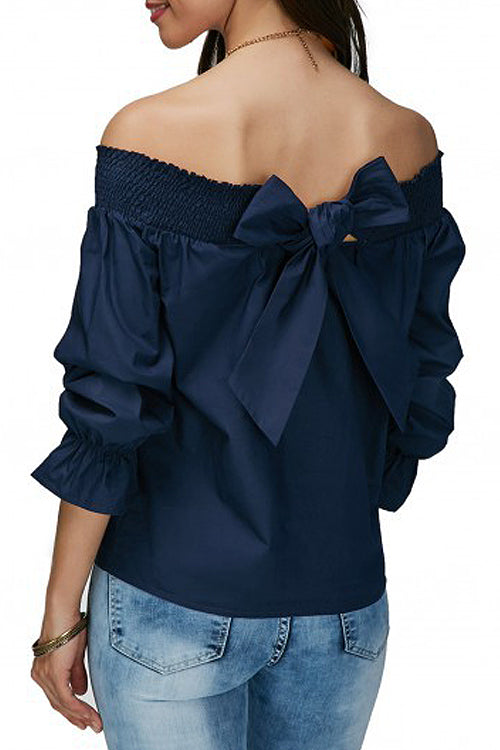 Off the Shoulder Bowknot Blouse