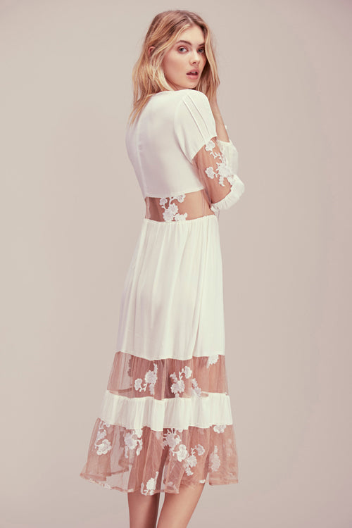 Lace-embroidered Tulle Midi Dress