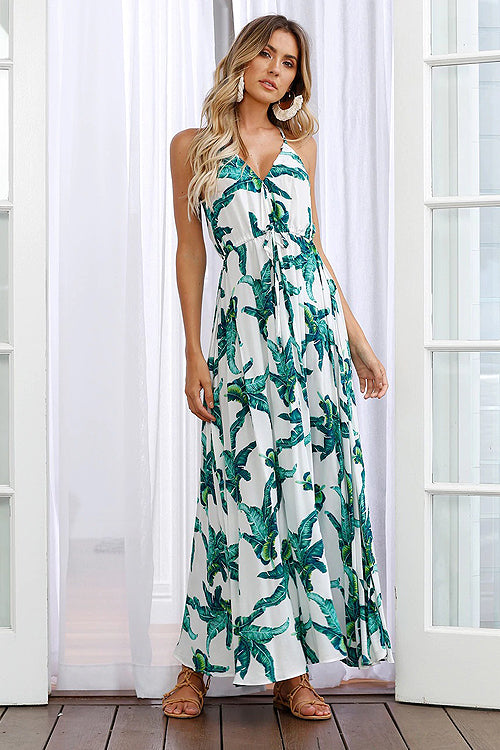 Palm Print Spaghetti Maxi Dress