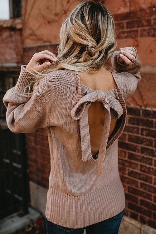 Pleasure to Meet You Bowknot -back Sweater - 4 Colors