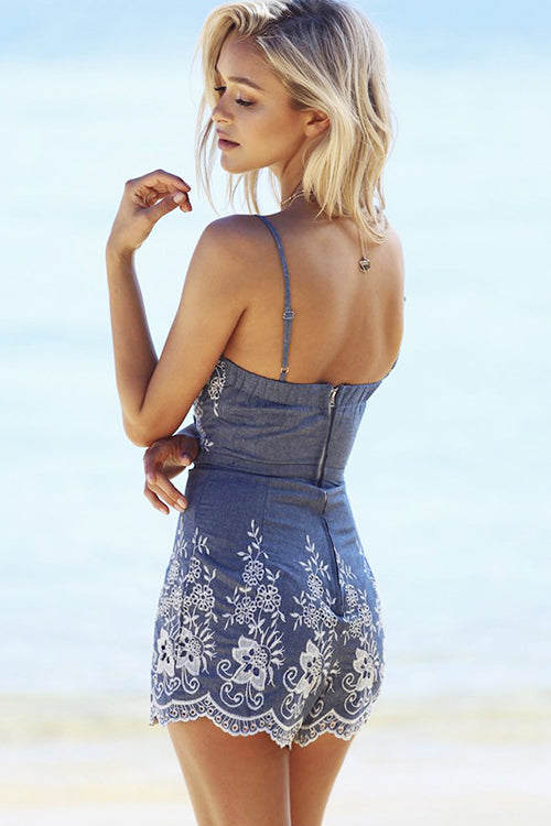 Denim Floral-embroidered Romper