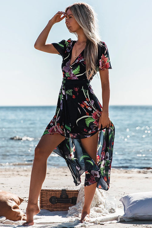 Chiffon High&Low Palm Print Dress - 2 Colors