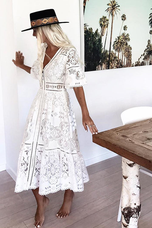 Lace Hollow-out Button Midi Dress