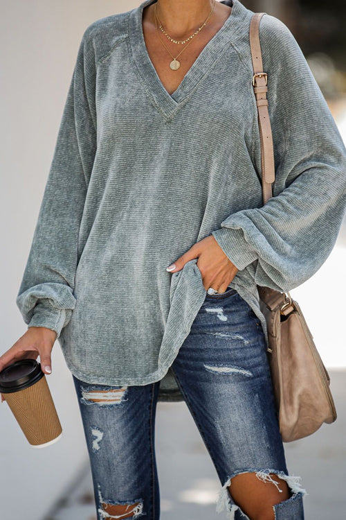 On My Radar V-Neck Knit Blouse - 2 Colors