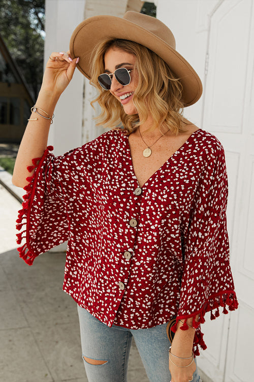 Sunshine Soul Printed Tassel Button-Up Top - 3 Colors