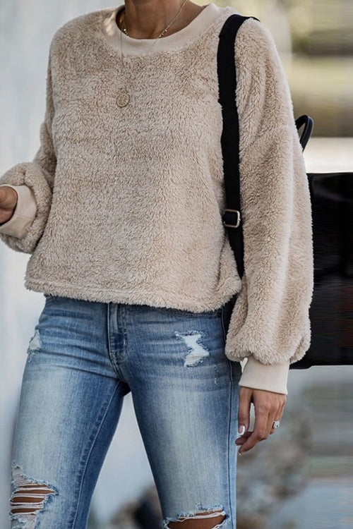 With the Seasons Fluffy Long Sleeve Pullover - 2 Colors
