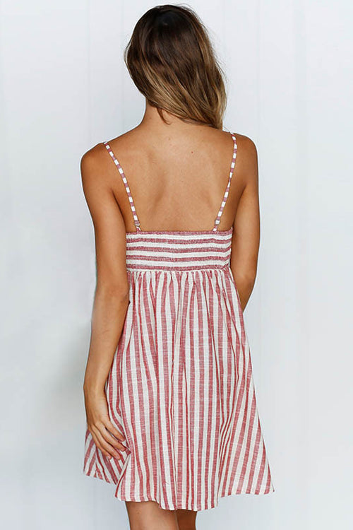 Stripe Front-bowknot Mini Dress