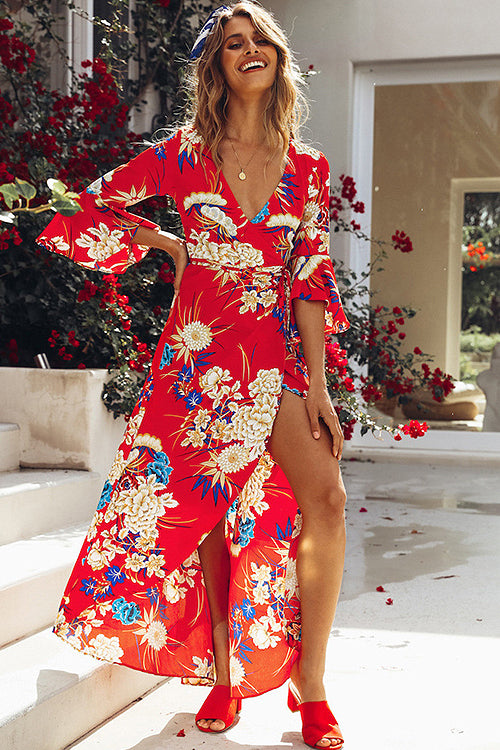 Print High-slit Wrap Maxi Dress - 5 Colors