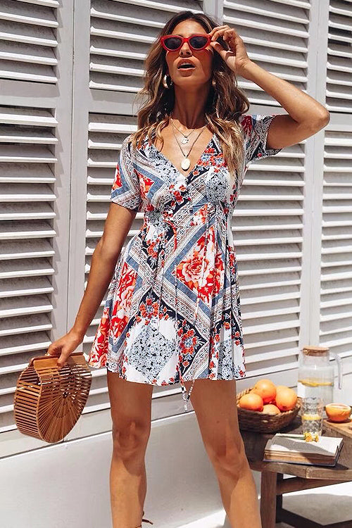 Boho Check Print Mini Dress