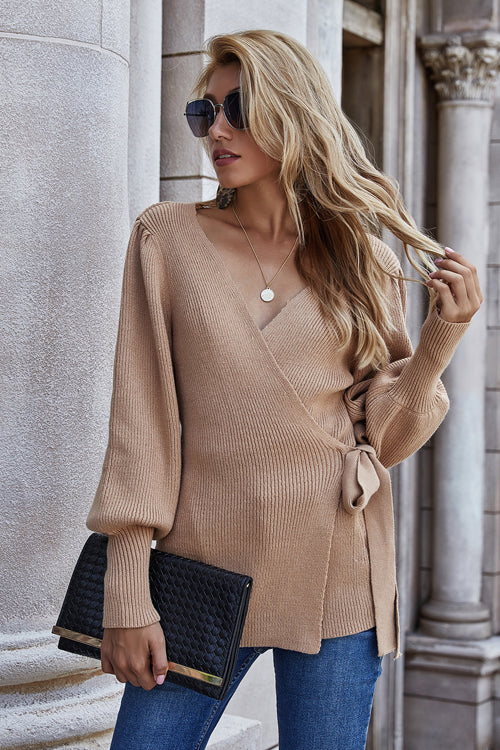 Dressed To Chill Long Sleeve Wrap Sweater - 2 Colors