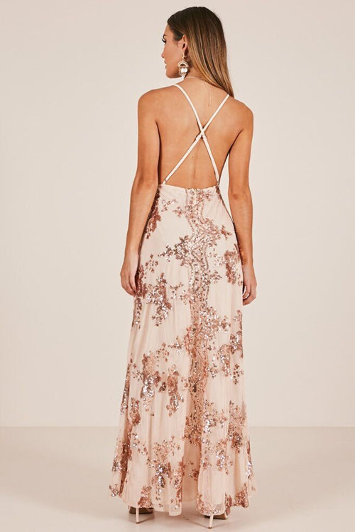 Golden Sequin Backless Maxi Dress